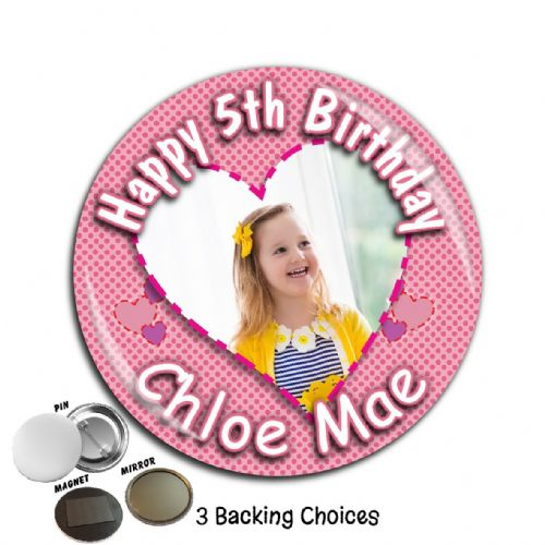 Large 75mm Personalised Patchwork Heart Girls Happy Birthday PHOTO Badge N43
